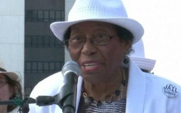Rosanell Eaton, 92, speaks at a rally.