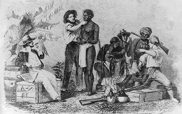 Illustration of a slave being inspected slavery