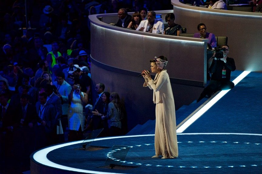 """Singer Andra Day performs """"Rise Up"""" at Wells Fargo Center. (Photo: Geoffrey Black/EBONY)"""