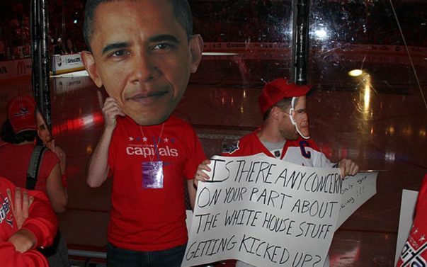 Obama Iced By Hockey Player,Supporters Respond
