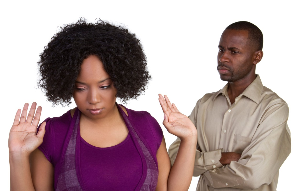 african american couple arguing