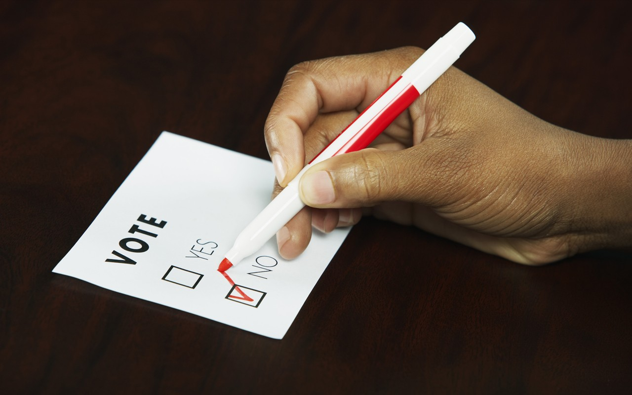 african american hand voting