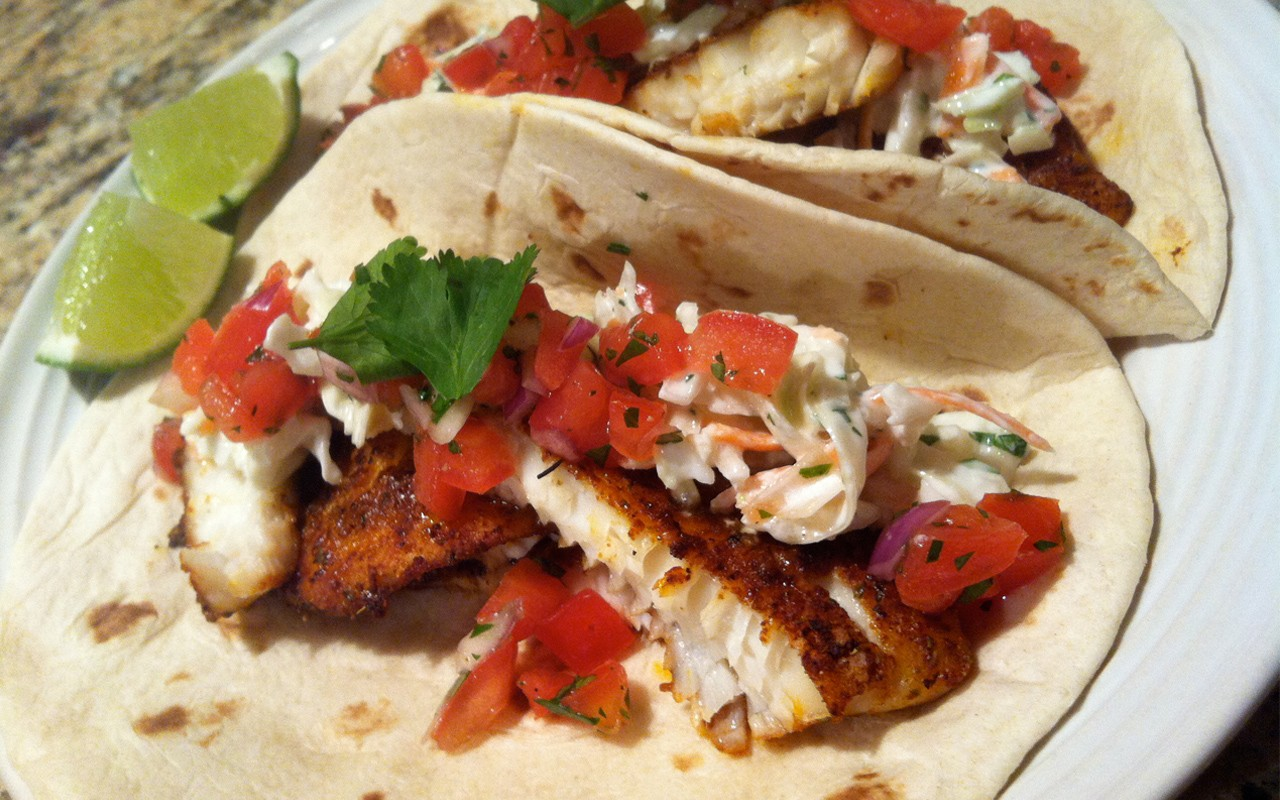 Recipe fish tacos with cilantro lime slaw ebony for Fish for fish tacos
