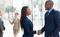 african american business people handshake