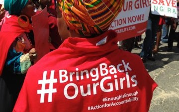 Protesters rally outside Nigerian Embassy to demand action over schoolgirls' abduction