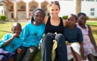 Lara Land with some of the children of Rwanda