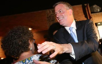 Bill De Blasio arrives at his primary night party in Brooklyn.
