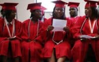 The graduating class of Livingston High School prepares for commencement June 3, 2008, in New Orleans.