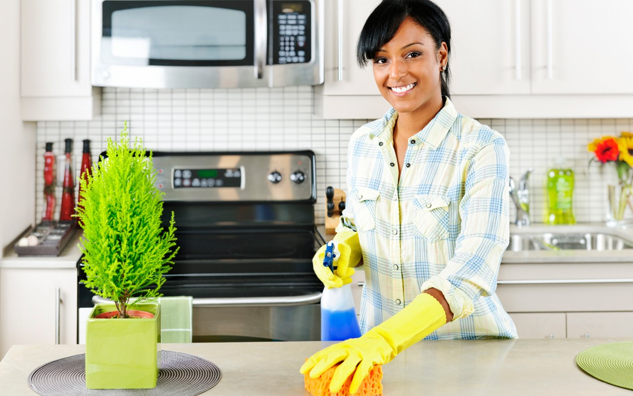 african american woman cleaning house
