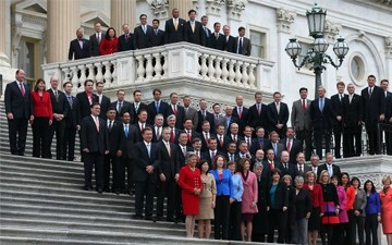 Congressional freshmen of the 113th Congress pose for a class picture on the steps of the U.S. Capitol