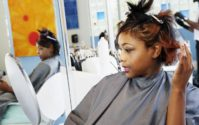 african american woman in hair salon