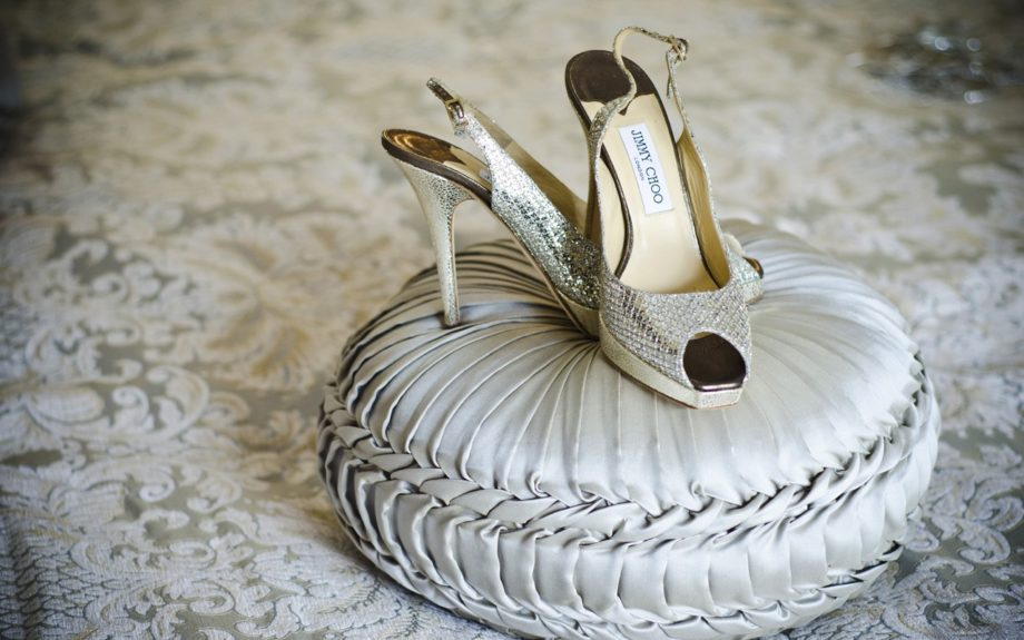 These shimmery snakeskin Jimmy Choos are more than fitting for this bride