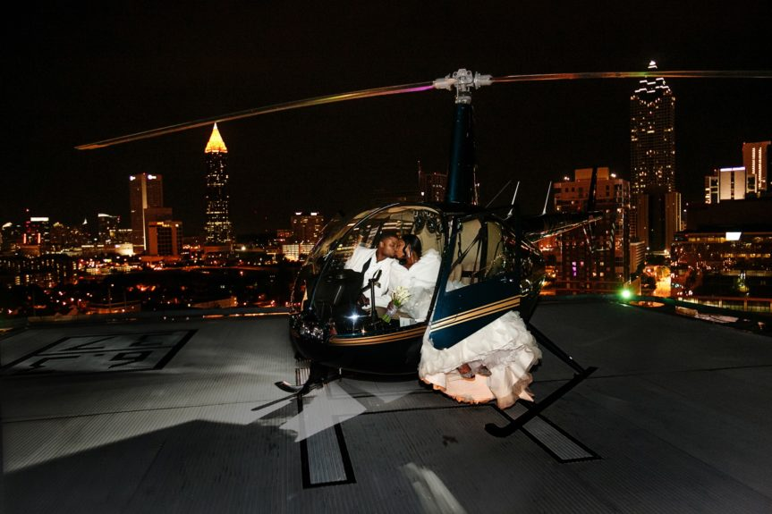 Alicia surprised her hubby with a helicopter exit from their ceremony!