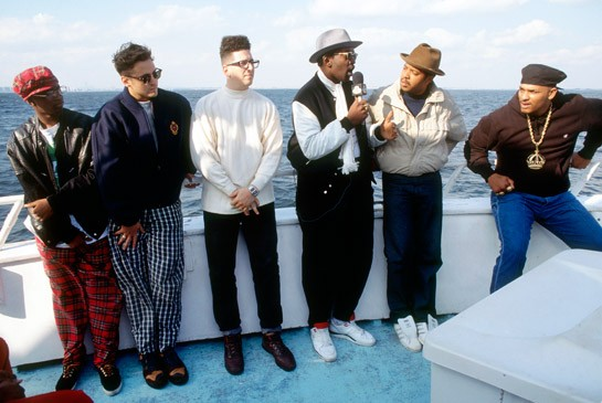 Cool as the ocean, Fab 5 Freddy drifts on the crisp blue sea with Run and 3rd Bass.