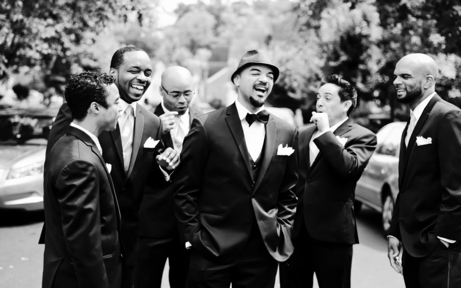 The Groom and his men! Damon Packwood is all smiles as he awaits his wife-to-be