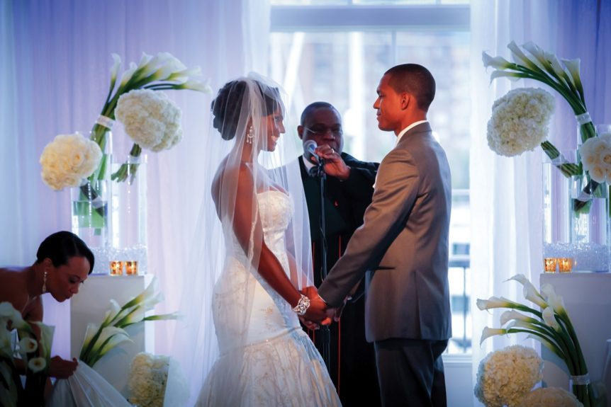 The couple at their ceremony, just moments before they became husband and wife