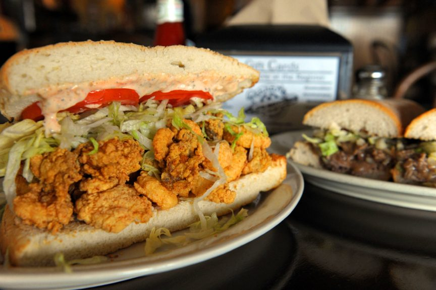 NOLA fried oysters or shrimp on freshly baked French bread? Um, you can keep your bologna sandwich