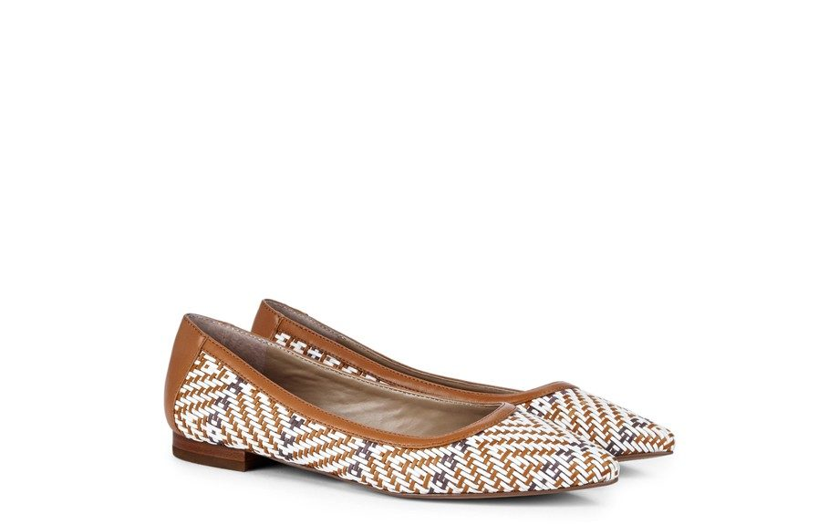 """A good casual flat: Felicia Woven Flat, $60, <a href=""""http://www.solesociety.com/felicia-natural-luggage.html"""">solesociety.com</a>"""