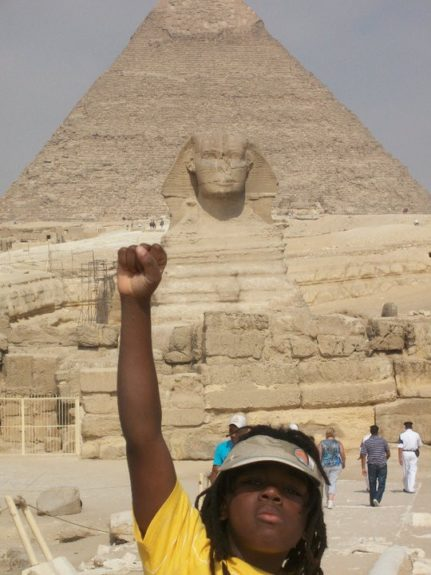 """When Mecca was 10, he told his mom he wasn't getting enough Black history in school. His parents sent him to Egypt. """"That's how I do it,"""" says his mom."""