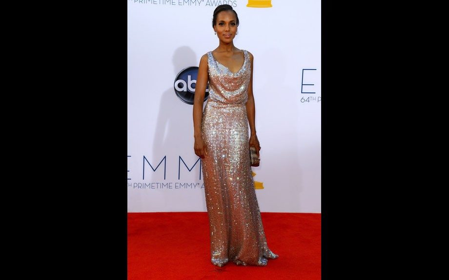 Kerry Washington posed on the red carpet at the 2012 Emmy Awards in a sequin Vivienne Westwood couture gown.