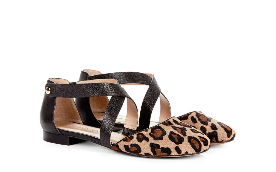 """If you want to add a little 'roar' to your fit: Ananda Round Toe Flat, $65, <a href=""""http://www.solesociety.com/ananda-camel-black.html"""">solesociety.com</a>"""