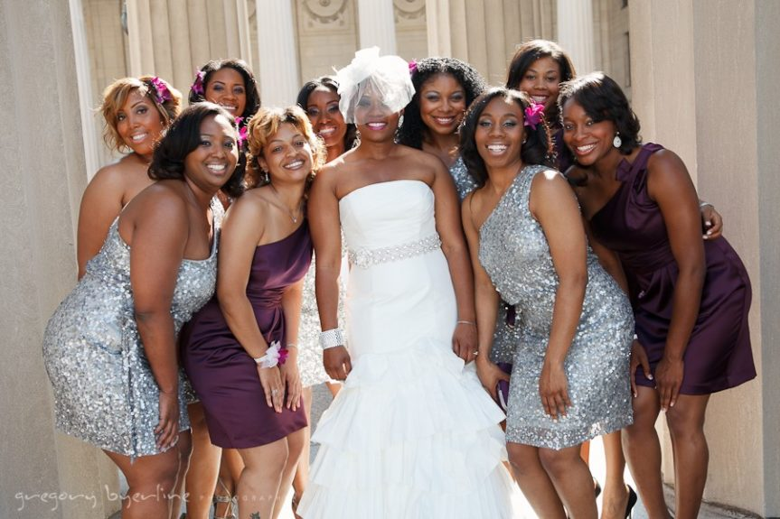 The bridal party wore non-traditional colors in April's Hollywood glam wedding