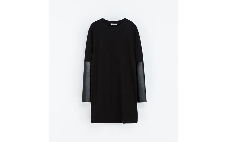 """Zara Dress with Faux Leather Sleeves, $60;<a href=""""http://www.zara.com/us/en/woman/dresses/dress-with-faux-leather-sleeves-c269185p1668401.html"""" target=""""_blank"""">zara.com</a> <div> </div>"""
