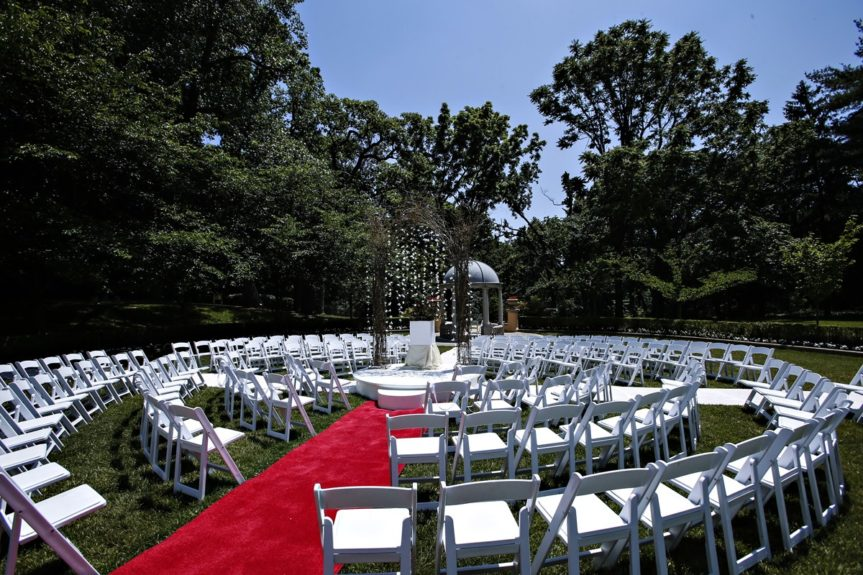 The wedding ceremony setup was perfect for all of the guests to see.