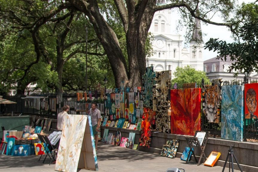 14. If you're walking around Jackson Square, you'll see sidewalks lined with original pieces of artwork that you can buy.  	Photo Credit: Whitney Tucker