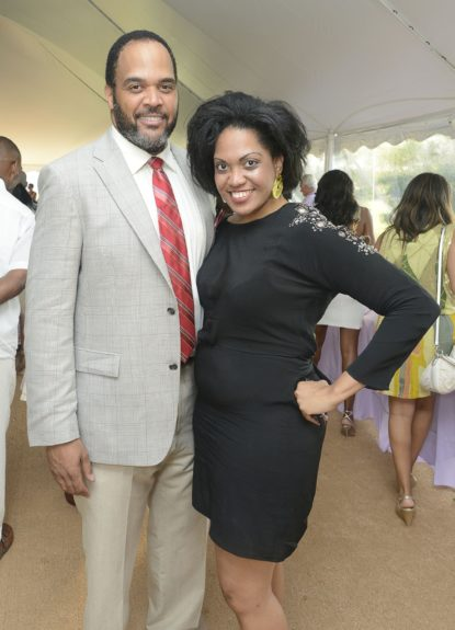 "Victor Williams and Jenna Bond Louden attend the Evidence, A Dance Company Hosts 9th Annual ""On Our Toes""...In the Hamptons Summer Benefiton August 18, 2012 in Bridgehampton, New York."