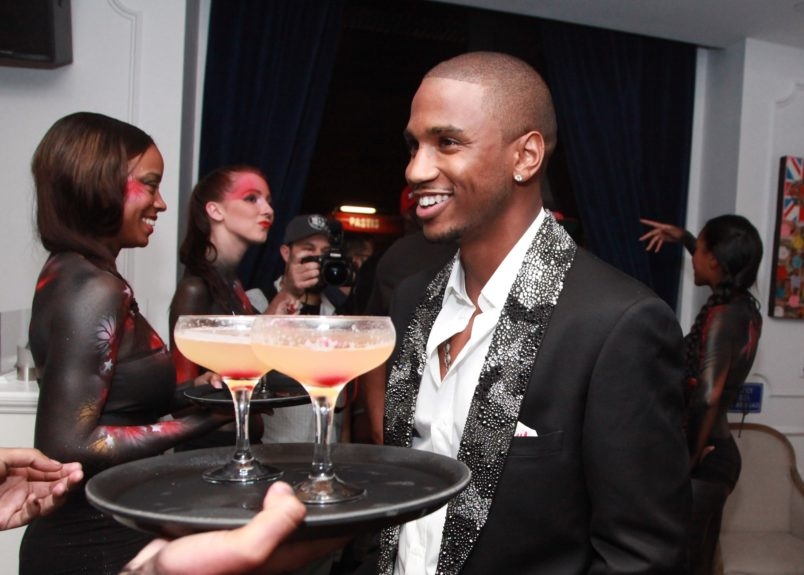 Trey Songz being served with Grey Goose Cherry Noir