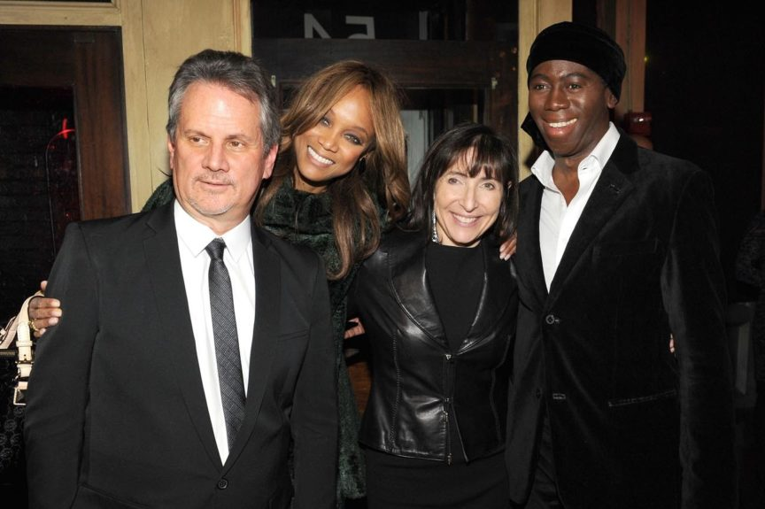 """Producer Larry Sanitsky, Tyra Banks, Nancy Sanitsky and Miss J. Alexander attend the premiere of """"Betty & Coretta"""" to celebrate with Lifetime and cast at Tribeca Cinemas in New York City."""