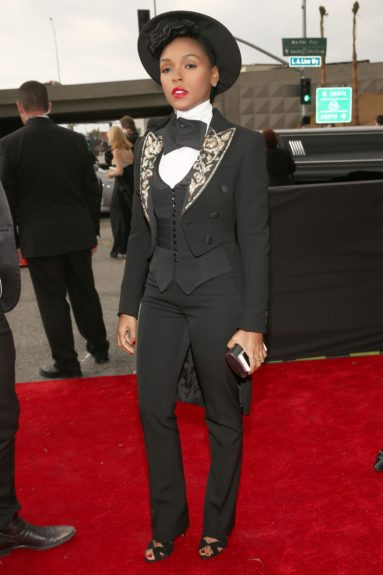 In the night's fashion shocker, Janelle Monáe surprises all in black and white.