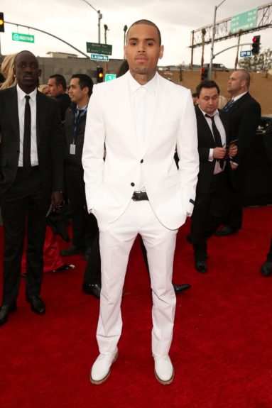 Chris Brown all decked out in virgin white on Music's Biggest Night™.