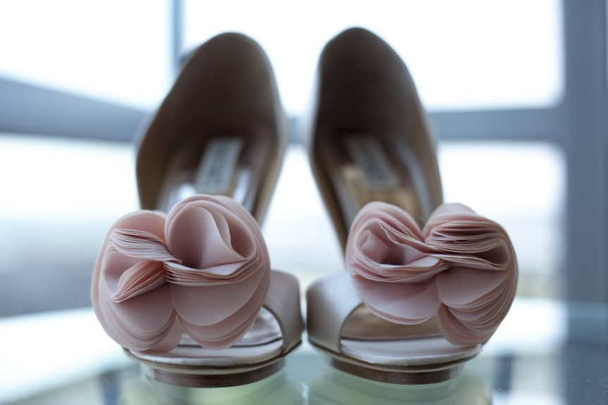 The bride opted for a classic Badgley Mishka sandal