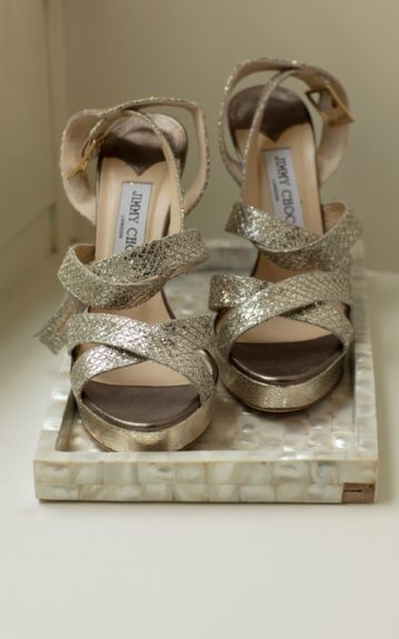 Strappy Jimmy Choo heels made for a bride