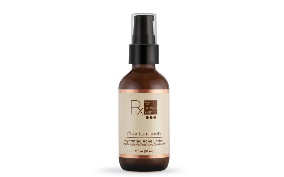 "Rx for Brown Skin Clear Luminosity Hydrating Acne Lotion soothes and hydrates the skin, while fighting against breakouts.$33, <a href=""https://my.rxforbrownskin.com/product.php?id=1737"">www.rxforbrownskin.com&</a>"