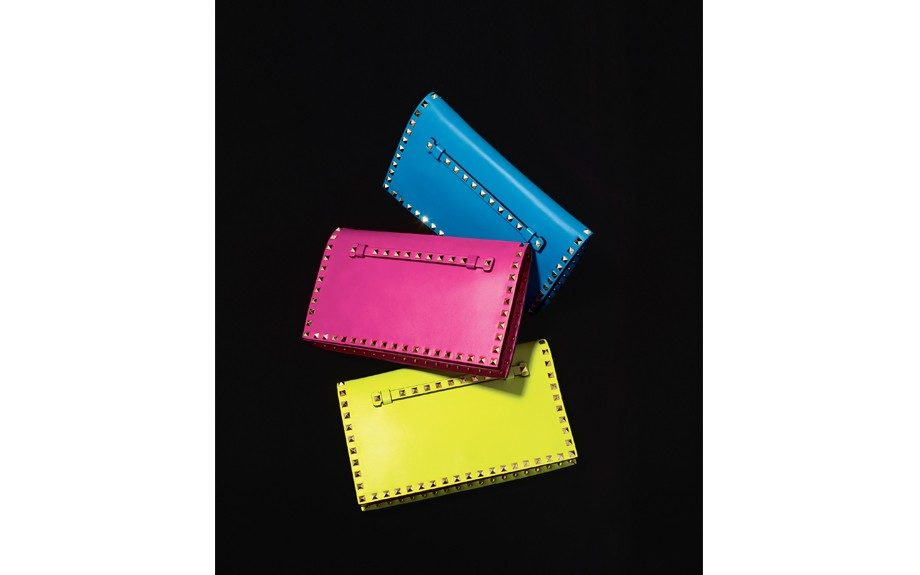 Valentino 'RockStud' flap Nappa leather/metal cutch in blue fluo, fuxia fluo or yellow fluo, $1,495. Nordstrom.com.
