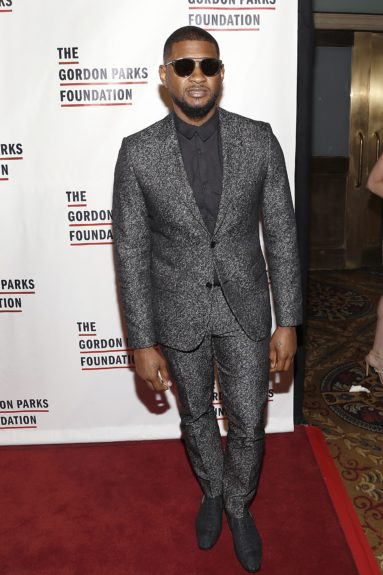 Usher arrives at the Gordon Parks Foundation Awards Dinner and Auction.