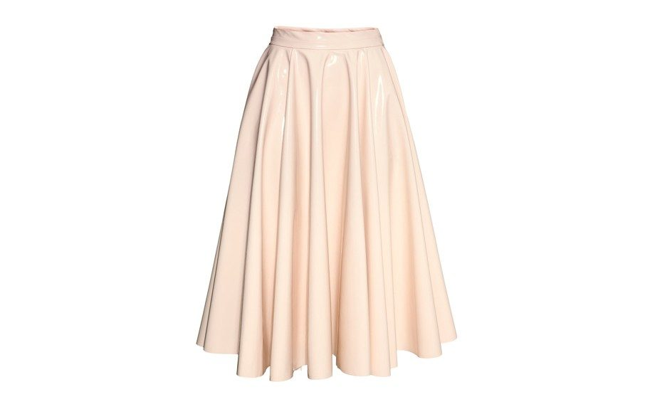 """<strong><a href=""""http://www.hm.com/us/product/18381?article=18381-A"""" target=""""_blank"""">H&M Glossy Skirt</a>$59.99</strong>"""