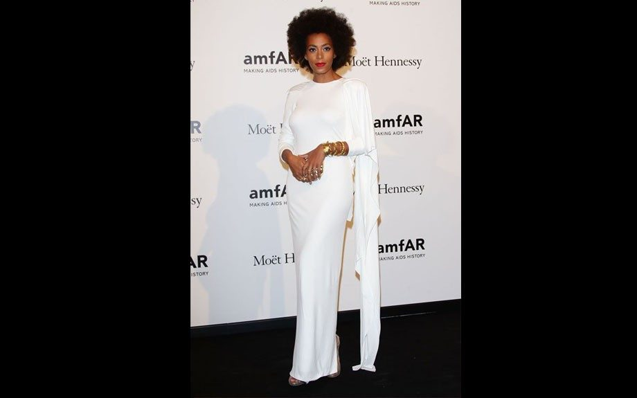 Solange Knowles was stunning in her white Rubin Singer gown at the Milano dinner.