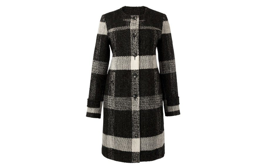 """Collarless Buttoned Coat ($120, <a href=""""http://www.simplybe.com"""">www.simplybe.com</a> )"""