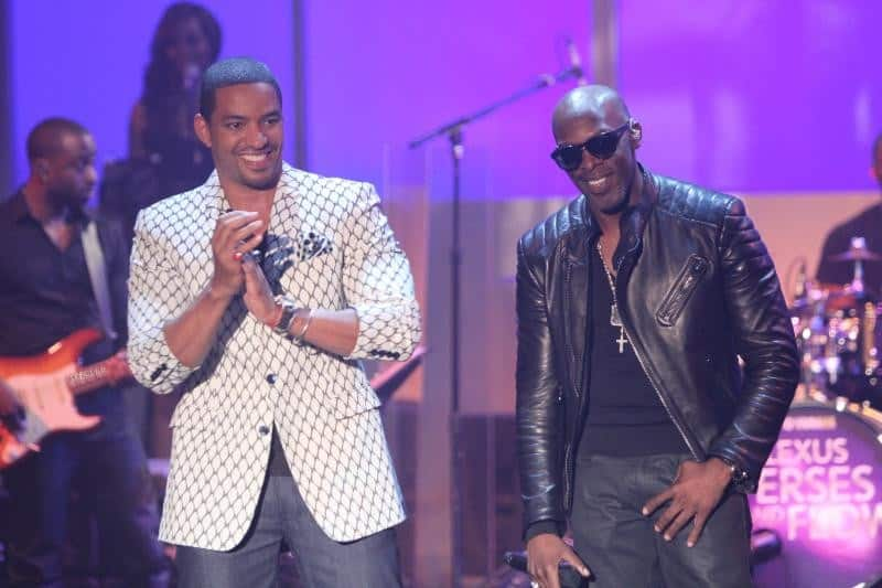 Host Laz Alonso and Joe during 'Verses and Flow' taping at Siren Studios in Hollywood