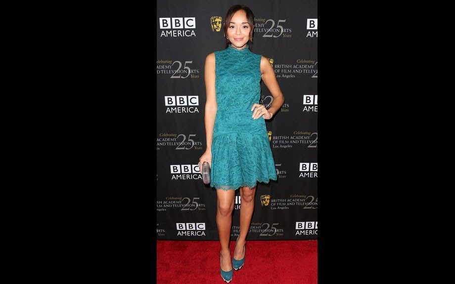 Ashley Madekwe attended the BAFTA LA TV Tea 2012 in West Hollywood in a lace dress from Kain Label, Charlotte Olympia pumps, and a Anya Hindmarch clutch.