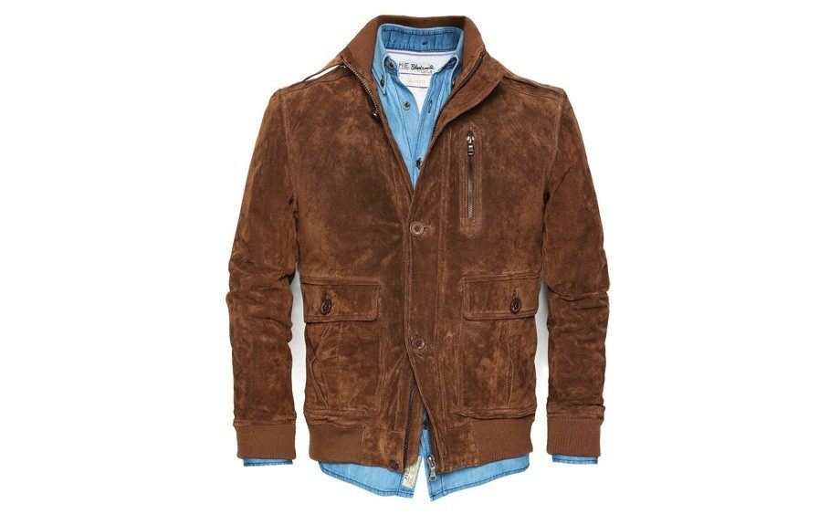 """<strong>For the On the Go Man</strong>  H.E. by Mango Peccary Bomber Jacket ($120,<a href=""""http://www.amazon.com/H-E-Peccary-Bomber-Jacket-Toasted/dp/B00DJ5WMRW"""" target=""""_blank"""">amazon.com</a>)"""
