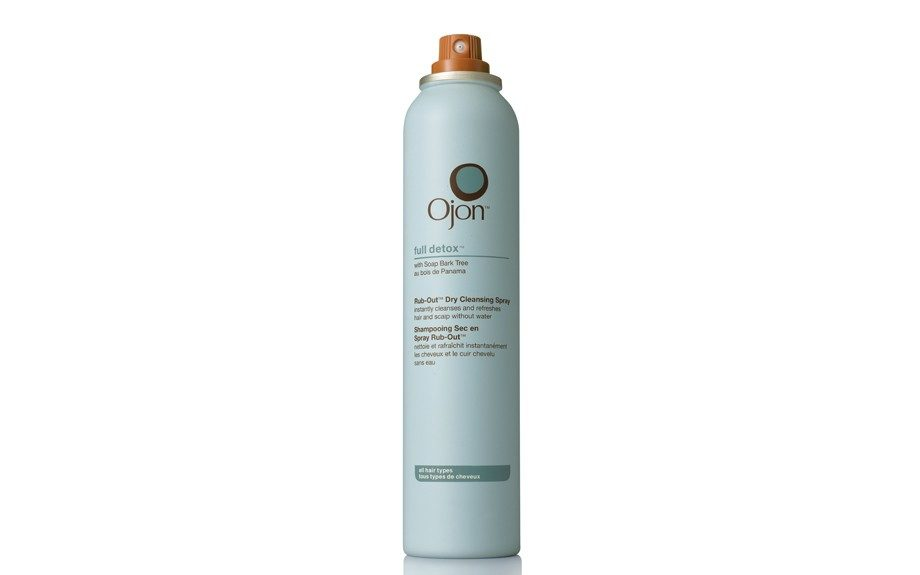 "Ojon Full Detox Rub-Out Dry Cleansing Spray does exactly what it does. Cleanse the hair and scalp without adding water. $24, <a href=""http://www.ojon.com/product/4722/15458/Shop-by-Product/Shop-by-Product-Type/Finish/full-detox-Rub-Out-Dry-Cleansing-Spray/index.tmpl"" target=""_blank"">O"