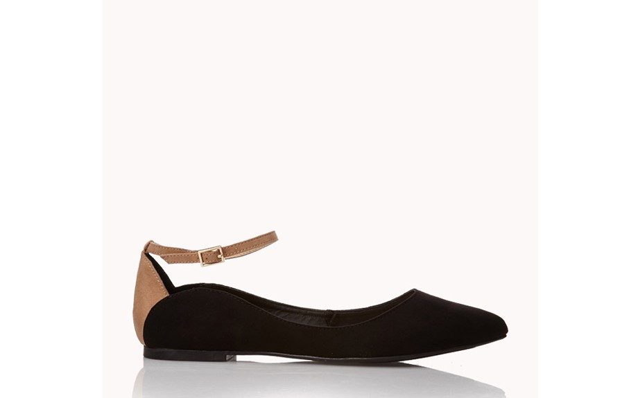 """For a classic touch: Faux Suede Flats, $23, <a href=""""http://www.forever21.com/Product/Product.aspx?BR=f21&Category=shoes_flats&ProductID=2000075448&VariantID="""">forever21.com</a>"""