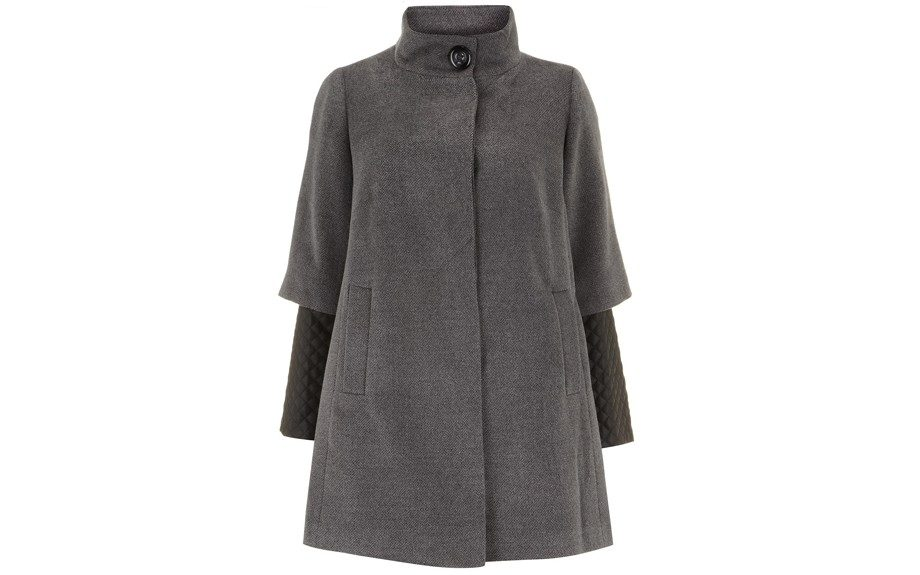 """Grey Quilted Sleeve 2-In-1 Coat (@130.00, <a href=""""http://www.EvansUsa.com"""">www.EvansUsa.com</a> )"""