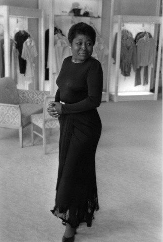 Esther Rolle trying on a dress at the Joseph Magnin store in Beverly Hills in 1974. Photo: Isaac Sutton/EBONY