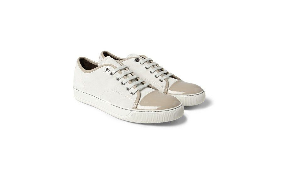 """<strong>Wear them to that first date with your long time crush from college.</strong><a href=""""http://www.mrporter.com/product/397002"""" target=""""_blank"""">LanvinSuede and Patent Leather Low Top Sneakers, $346</a>."""